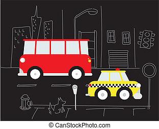 táxi, autocarro, rua, vermelho