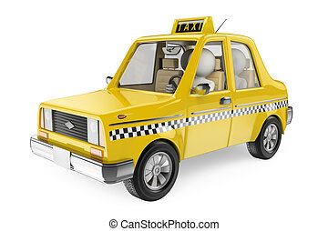 táxi, branca, pessoas., 3d