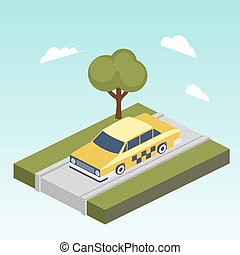 táxi, car, isometric, vetorial, estrada