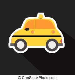 táxi, car, sombra, vetorial, longo