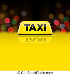 táxi, car, telhado, sinal, amarela, noturna