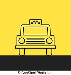 táxi, car, vetorial, ilustração