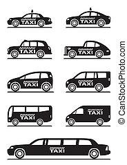 táxi, carros, diferente, tipos