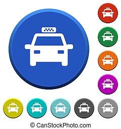 táxi, chanfrado, botões