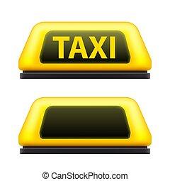 táxi, conceito, arte, abstratos, sinal amarelo, rua, desenho, template., serviço, criativo, experiência., bokeh, ilustração, mais claro, obscurecido, gráfico, car, telhado, elemento, vetorial, noturna