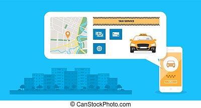 táxi, conceito, serviço