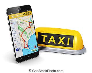 táxi, conceito, serviço, internet