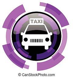 táxi, cor-de-rosa, smartphone, teia, botão, modernos, eps, isolado, experiência., vetorial, desenho, violeta, branca, icon., redondo, 10