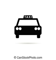 táxi, cor, pretas, ilustração, ícone