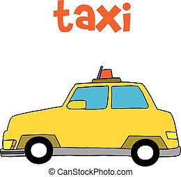 táxi, desenhar, vetorial, ilustração, mão