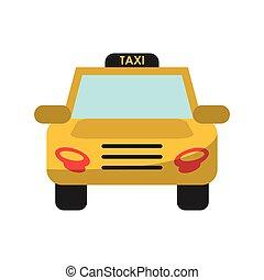 táxi, desenho, isolado, veículo