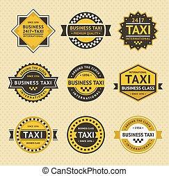 táxi, emblemas, -, vindima, estilo