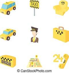 táxi, estilo, ícones, jogo, chamada, caricatura