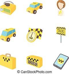 táxi, estilo, ícones, jogo, costume, caricatura