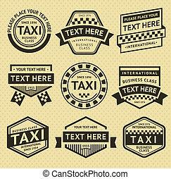 táxi, etiquetas, jogo, vindima, estilo