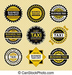 táxi, etiquetas, -, vindima, estilo