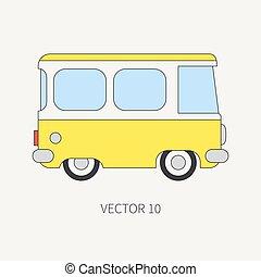 táxi, família, cor, sobre, carro., viajando, style., design., vindima, longo, viagem, vehicle., van., apartamento, road., comercial, ilustração, linha, distância., caricatura, ícone, minibus, seu, elemento, vetorial, transportation.