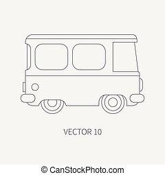 táxi, família, sobre, carro., viajando, seu, design., viagem, vindima, longo, style., vehicle., van., apartamento, road., comercial, ilustração, linha, distância., caricatura, ícone, minibus, planície, elemento, vetorial, transportation.