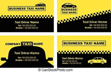táxi, fundo, cartão negócio