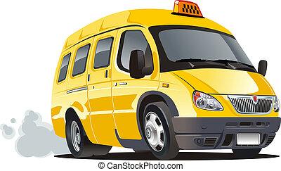 táxi, furgão, caricatura
