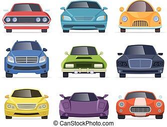 táxi, furgão, carros, veículos, cobrança, caminhão, autocarro, frente, vista., caricatura, transporte