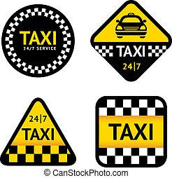táxi, -, jogo, adesivos