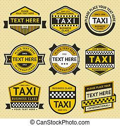 táxi, jogo, insignia, vindima, estilo