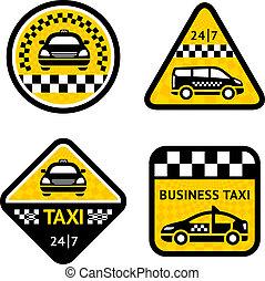 táxi, -, jogo, quatro, adesivos