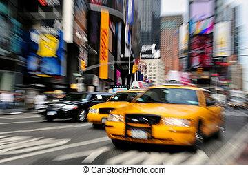 táxi, nova iorque, blurry