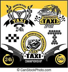 táxi, símbolos, elementos, emblema, set., -, vetorial
