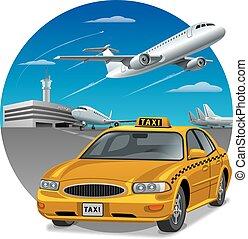 táxi, sedan, car