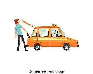 táxi, serviço, car, bagagem, ilustração, vetorial, pôr, caricatura, homem