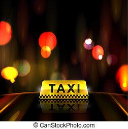 táxi, serviço, em, cidade