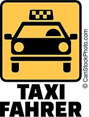 táxi, título, alemão, motorista, amarela, trabalho, táxi, ícone