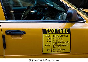 táxi, tarifa