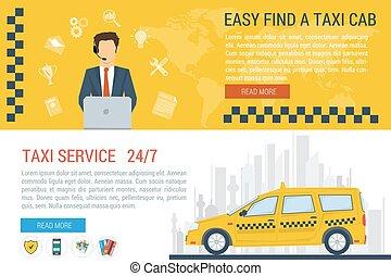 táxi, teia, bandeiras, vetorial, serviço