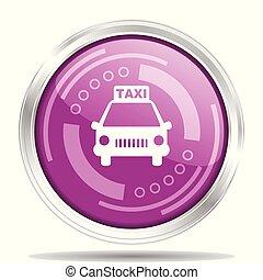táxi, teia, webdesign, cromo, isolado, ilustração, metálico, aplicações, vetorial, móvel, fundo, ícone, branca, borda, redondo, prata