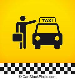 táxi, tema, com, passageiro