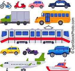 táxi, transport., cidade, car, trem, isolado, cobrança, vetorial, veículo, carros, transporter, público, urbano