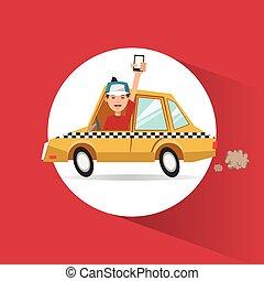 táxi, transporte, desenho, veículo