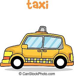 táxi, transporte, vetorial, arte, caricatura