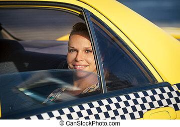 táxi, travelling-business, mulher, amarela, pessoas