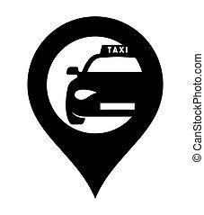 táxi, vetorial, ícone