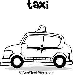 táxi, vetorial, ilustração, cobrança
