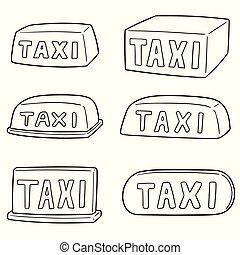 táxi, vetorial, jogo, sinal