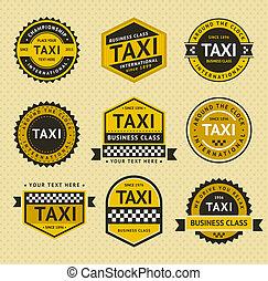 táxi, vindima, estilo, insignia