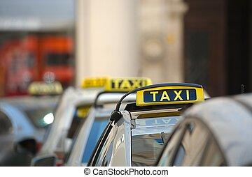 táxis, ligado, um, rua