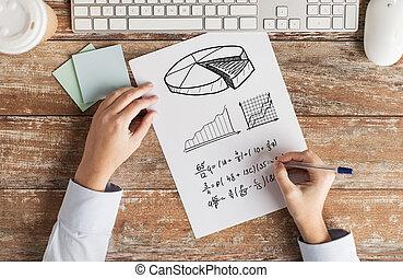 tâche, équation, résoudre, haut, écriture, mains, fin, ou