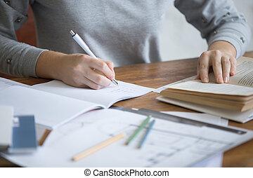 tâche, étudiant, copybook, exécuter, écrit, femelle transmet