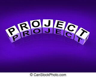 tâche, blocs, exposition, projet, entreprise, plan